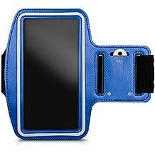 kwmobile Brazalete deportivo para Smartphones - Bolsito deportivo para footing, pasear, cinta para correr con bolsillo para llaves en brazalete deportivo en azul - compatible por ej. con Samsung, Apple