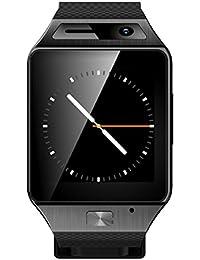 Tongshi Bluetooth elegante reloj de la pantalla táctil del teléfono para el teléfono móvil Android (Negro)