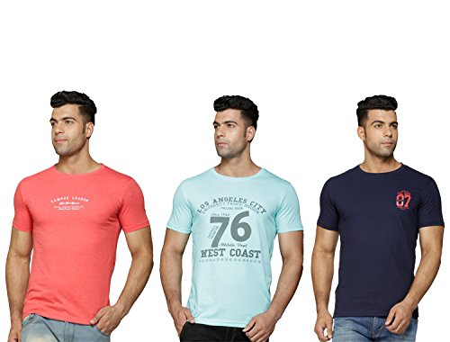Perroni Men's Cotton Blend Material Round Neck Half Sleeve Printed Smart Fit Tshirts Combo Pack (Large, Coral,Sea Green,Navy)