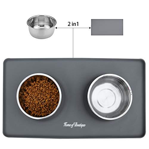 Ciotola per Cani Gatti in Acciaio Inox con Tappetino Silicone Antiscivolo, Ciotole Doppia per Cane Gatto Grandi o piccoli (L, 24oz/Ciotola)