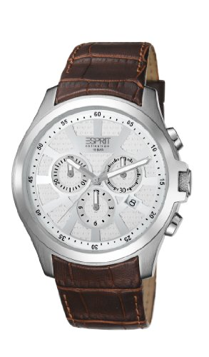 Esprit Collection Kratos Men's Quartz Watch with White Dial Chronograph Display and Brown Leather Strap EL101801F03