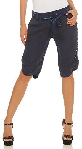 Mississhop 281 Damen Capri 100% Leinen Bermuda lockere Kurze Hose Freizeithose Shorts mit Gürtel und Knöpfen Dunkelblau XXL