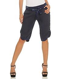 Mississhop Damen Capri 100% Leinen Bermuda lockere Kurze Hose Freizeithose  Shorts mit Gürtel und Knöpfen 80f9c0736b