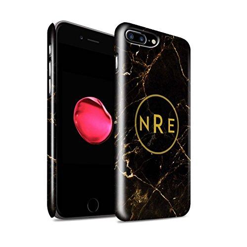 Personalisiert Individuell Marmor Glanz Hülle für Apple iPhone 7 / Krone/Banner Design / Initiale/Name/Text Snap-On Schutzhülle/Case/Etui Schwarz Monogramm