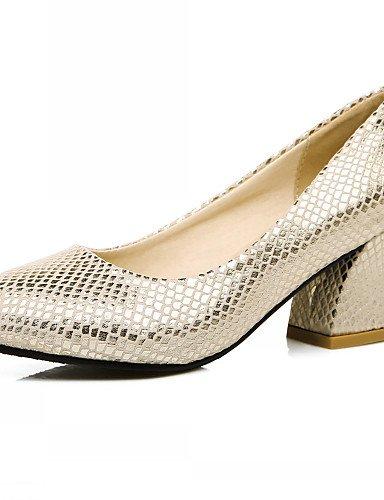 WSS 2016 Chaussures Femme-Bureau & Travail / Habillé / Décontracté-Argent / Or-Gros Talon-Talons-Talons-Similicuir silver-us6.5-7 / eu37 / uk4.5-5 / cn37