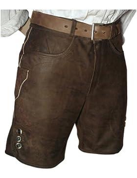MADDOX Lederhose Trachten kurz braun speckig große Größe Bundumf: 136-143cm Glattleder Patina Herren Trachtenlederhose...