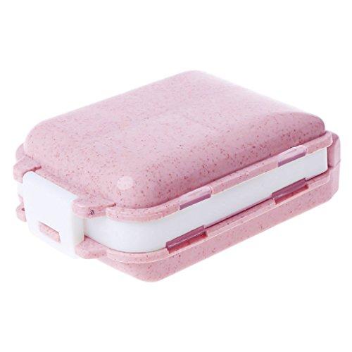 Haorw Tablettenbox Pillendose Medikamentenbox Pillenbox, 8 Fach (Rosa) -