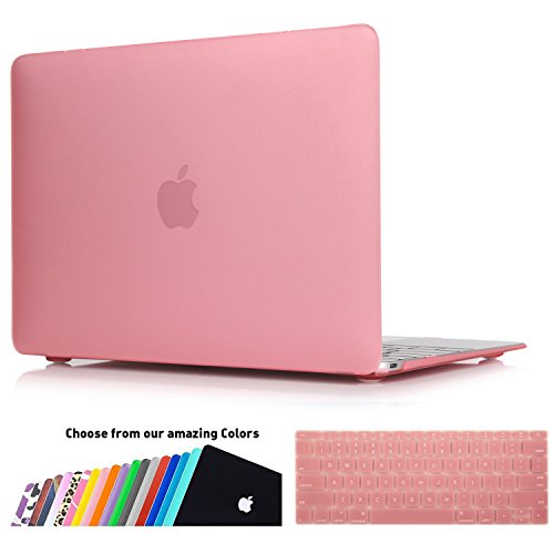 MacBook 12 Retina Display Hülle,iNeseon(TM) 2 in 1 [Frosted Series]Ultra Slim Gummierte Harte Case Cover Shell, US Version Rosa Tastatur Abdeckung und EU Version Transparent Tastatur Abdeckung für Apple MacBook 12 Zoll mit Retina Display [Modell:A1534](Rosa) (Retina Tastatur-abdeckung Mac)