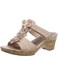 Womens 27101 T-Bar Sandals, Braun (Platinum), 13 Marco Tozzi