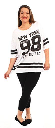Chocolate Pickle® Neue Damen Plain gestreifte Baseball Sackartiges-T-Shirts,36-50 98 Newyork White