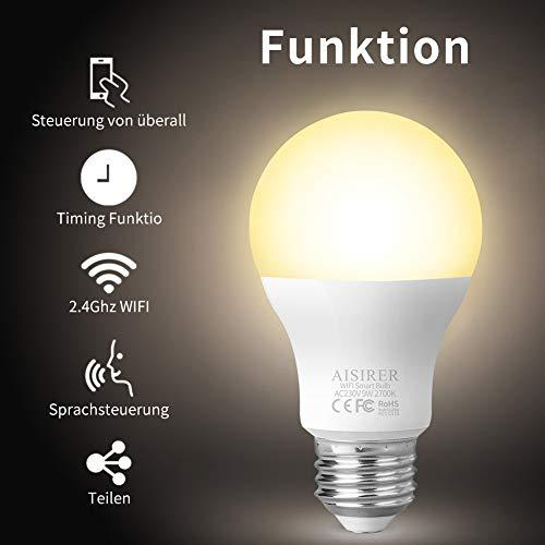 Smart WLAN LED Lampe Glühbirne AISIRER E27 2700K Birne mit Warmweiß Licht Wifi Glühbirne 806LM,steuerbar via App dimmbare,kompatibel mit Amazon Alexa (Echo,Echo Dot) und Google Assistant
