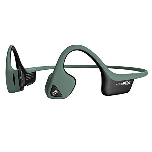 AfterShokz AS650FG - Trekz Air Bluetooth Casque Conduction Osseuse Ecouteur Bloothooth Sans Fil Wireless Headphone avec Micro pour le Sport - Vert