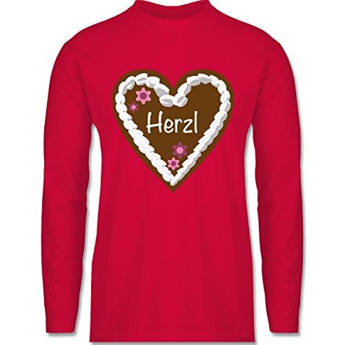Oktoberfest Herren - Lebkuchenherz Herzl - Longsleeve / langärmeliges T-Shirt für Herren Rot
