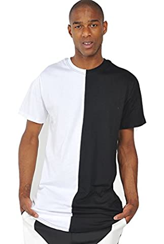 Pizoff Hip Hop Homme T-shirt ultra long avec ourlet Y1294-White--M