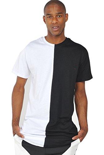 Pizoff Unisex Hip Hop Urban Basic T-shirt lunga con busto a contrasto Y1294-White--M