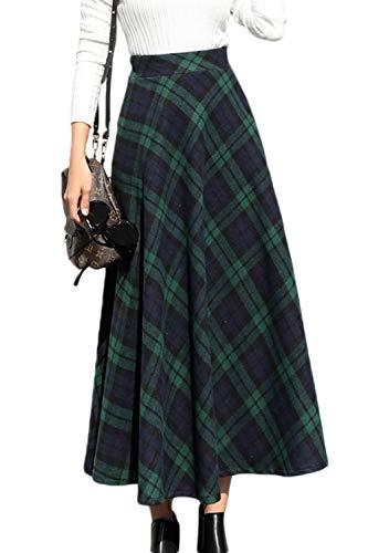 Damen Skater Röcke Winter Eleganten High Taille Karierten Partei Maxi - Röcke grüne M