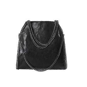 b6de50a3019353 Angleliu Damen PU lässigen Kette Handtasche Modisch Schultertaschen Glitzer  Beuteltasche (Schwarze Kette schwarz)