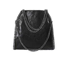 Angleliu Damen PU lässigen Kette Handtasche Modisch Schultertaschen Glitzer Beuteltasche (Schwarze Kette schwarz)