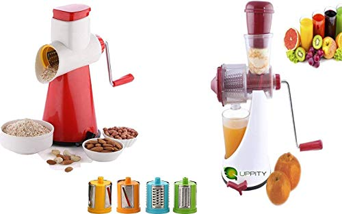 UPPITY Special Combo (Pack of 2) Fruits & Vegetable Juicer with Steel Handle & Fruits and Vegetable Manual Grater and Shredder (Color May Vary)