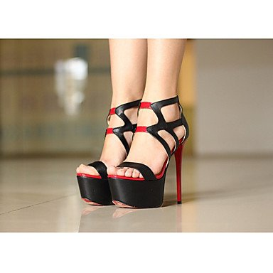 pwne Donna Primavera tacchi Club PU Scarpe Casual Stiletto Heel Nere Black US8 / EU39 / UK6 / CN39 US5.5 / EU36 / UK3.5 / CN35