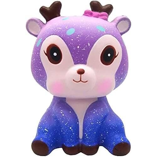 juguetes kawaii Squishys Kawaii Ciervo, Galaxia Kawaii Deer Squishies Lento Creciente Crema perfumada Squishy Squeeze Toys, regalo de los niños, juguete de la descompresión