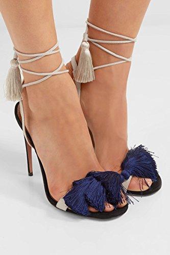 Strappy Sandali con tacco sono semplici sandali di colore della nappa Strap Navy Blue