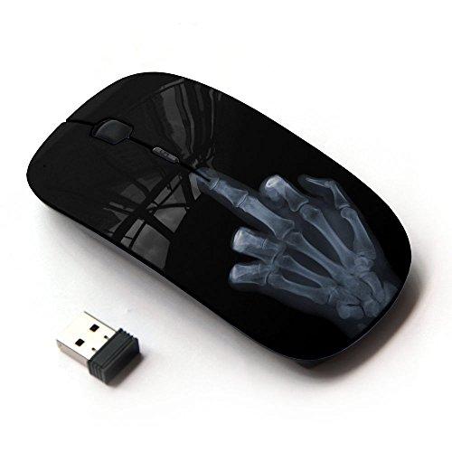 [Peculiar-Star] Colorato stampato ultrasottile ottico senza fili 2.4Ghz mouse-Black [Divertente mano X Ray]