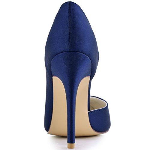 ElegantPark HC1601 Chic Escarpins Satin Femme Talon Haut Aiguille Bout Pointu D'orsay Chaussures de mariee Soiree Bleu Marine
