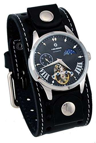 Nemesis STH511K Men's Open Heart Tourbillon Moon Phase Wide Leather Band Automatic Watch
