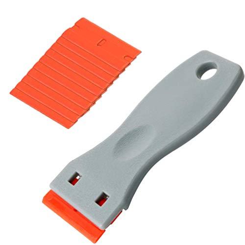 Kaiying 1.6 Zoll Breit Plastic Razor und 10 pcs Double Edge Blade Razor Scraper For Scraping Tags (Breite Kunststoff-wrap Extra)
