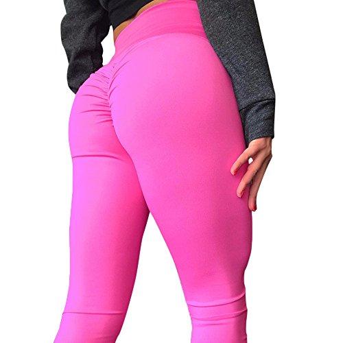TianWlio Leggings Damen Frauen Mode Workout Leggings Fitness Sport Gym Laufen Yoga Athletic Hosen Rosa M -