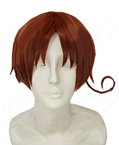 Halloween Kostüm Hetalia North Italy Feliciano Vargas Cosplay Perücke Wig Kurze Braune Haare ()