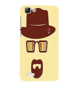 For Vivo V1 Hat, Brown, Aviater, Cool Pattern , Dude Pattern, Printed Designer Back Case Cover By CHAPLOOS