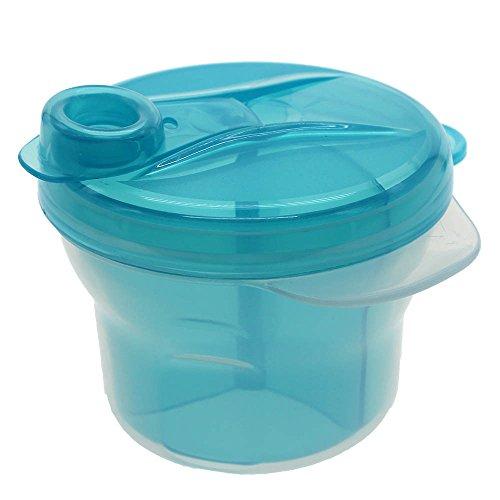 kompassswc Baby Leche en Polvo Dosificador 360° giratorio 3compartimentos Leche en Polvo Dispensador portátil bebé alimentos Caja de leche en polvo para 3Raciones azul azul