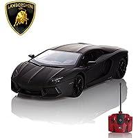 Lamborghini Aventador, télécommandé/télécommandé Modèle Voiture. 1:24 échelle En Mat Noir/Blanc et Orange - Noir Mat