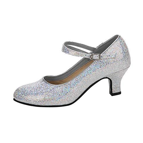 Gtagain pelle latino ballo scarpe donna - bambina elegante sala da ballo scarpe mezzo tacco fibbia sandali standard tango samba salsa balli jazz moderno ballroom professionali