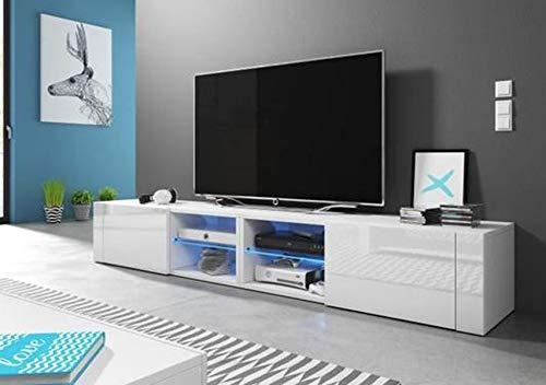 PEGANE Meuble TV Design Blanc Mat avec Blanc Brillant, Eclairage à la LED Bleue