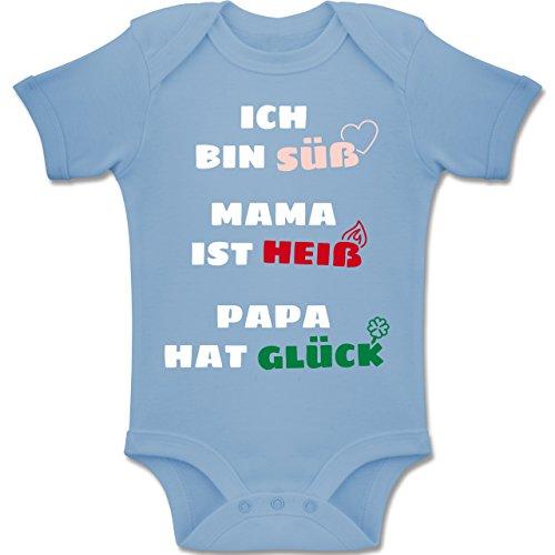 Strampler Motive - Ich Bin Süß Mama ist Heiß Papa Hat Glück - 1-3 Monate - Babyblau - BZ10 - Baby Body Kurzarm Jungen Mädchen (Kleidung Beste)