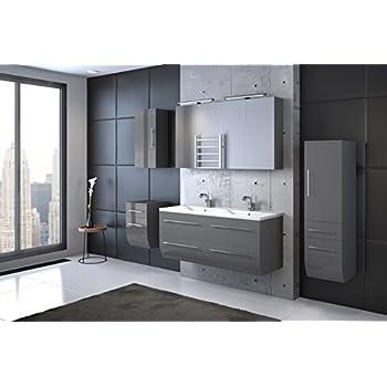 Doppelwaschbecken mit unterschrank holz  Bad11® - Badmöbelset ZESIRO CLASSIC in Hochglanz grau - 6 teiliges ...