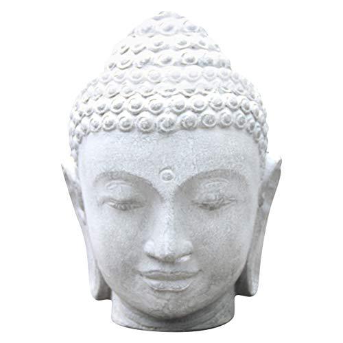 Ciffre Buddha Stein Kopf ca. 50cm Feng Shui Garten Deko Wetterfest Lava Stein Mischung STB12 Bauern Kopf