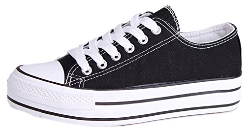 Honeystore Damen's Schnürung Leinwand Flache Low-Cut Innerhalb Aufzugsschuhe Erwachsene Sneaker Schwarz 38 EU (Großhandel Schuhe Canvas)