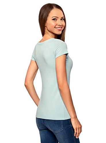 oodji Ultra Damen Tailliertes T-Shirt Basic Blau (7001N)