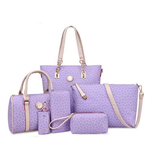 2019 Frau 6-teiliges Set Umhängetasche Handtasche Kupplung Brieftasche Schlüsseletui Female Bone Pattern Europa und Amerika Schulter Messenger Bag (Lila) - Europa-messenger Bag