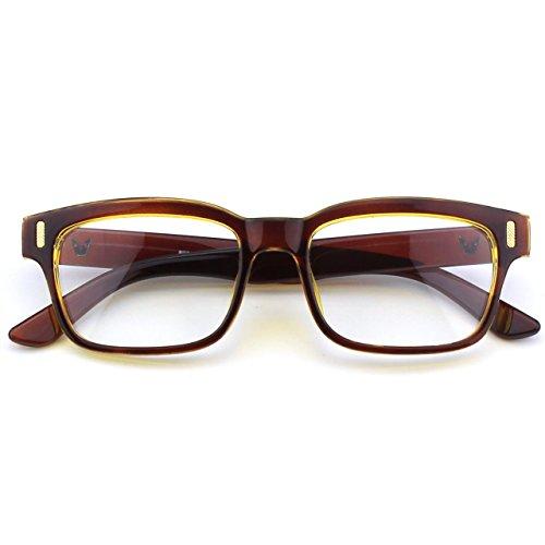CGID CN84 Modebrille ohne Stärke klar Nerd Clear Brille,Braun Gold