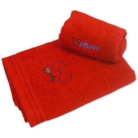 Disney 17275 - Juego de 2 toallas bordadas, diseño Mickey, color cereza
