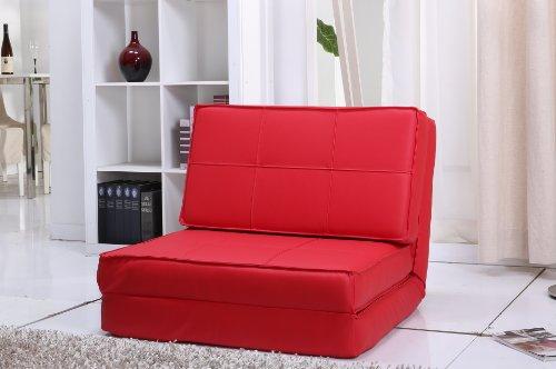 Schlafsessel Jugendsessel Gästebett Kunstleder verschiedene Farben (rot)