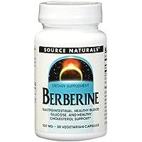 Source Naturals - Berberina gastrointestinal, glucosa sana de la sangre, y ayuda sana 500 del colesterol mg. - 30cápsulas vegetarianas