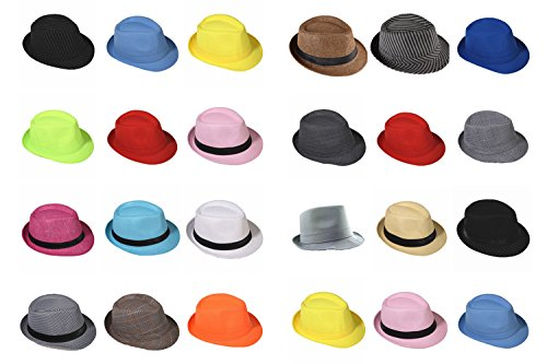 Chapeau de paille panama Fedora Trilby chapeau de chapeau Gangster avec ruban en tissu - Rosa (Strohhut)