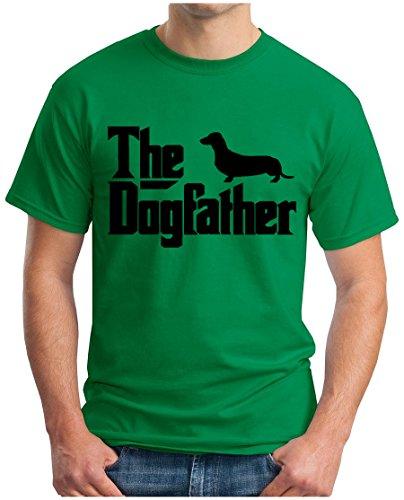 OM3 - The-Dogfather - T-Shirt Mafia Drugs Little Italy Geek The Godfather Fun Emo Hund Parodie, XL, Grün