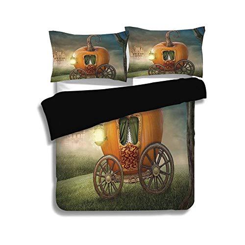 Ella 3-licht (LIS HOME Schwarzer Bettbezug Set, Kinder Dekor, abstrakte Märchenbild mit Orange Kürbis Licht Landschaft Prinzessin Ella Bild, Multicolor, dekorative 3 Stück Bettwäsche Set von 2 Pillow Shams)